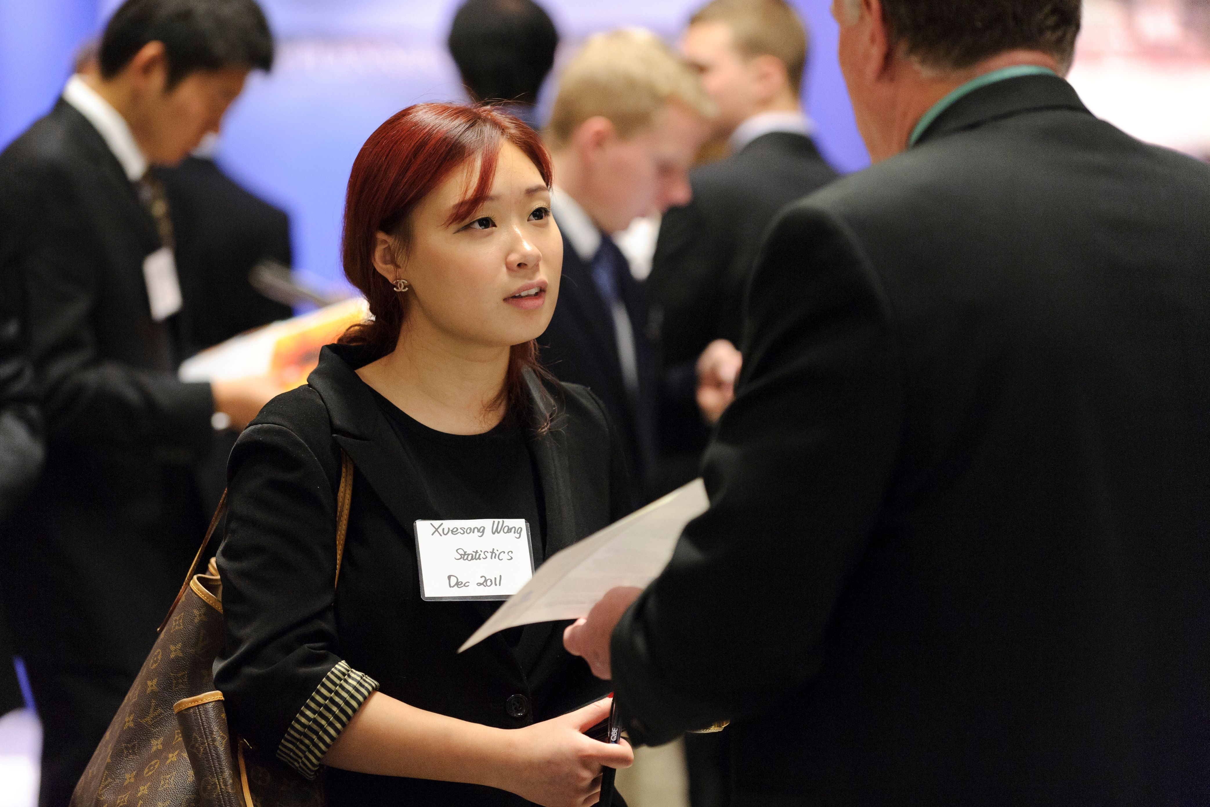 student at a job fair