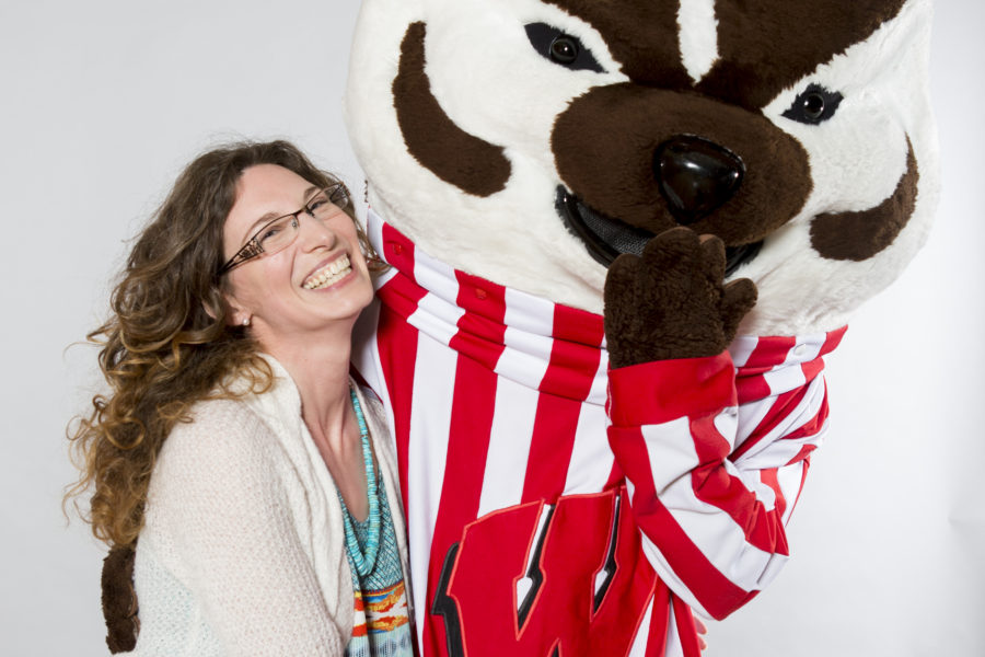 Gretchen Chan with Bucky Badger