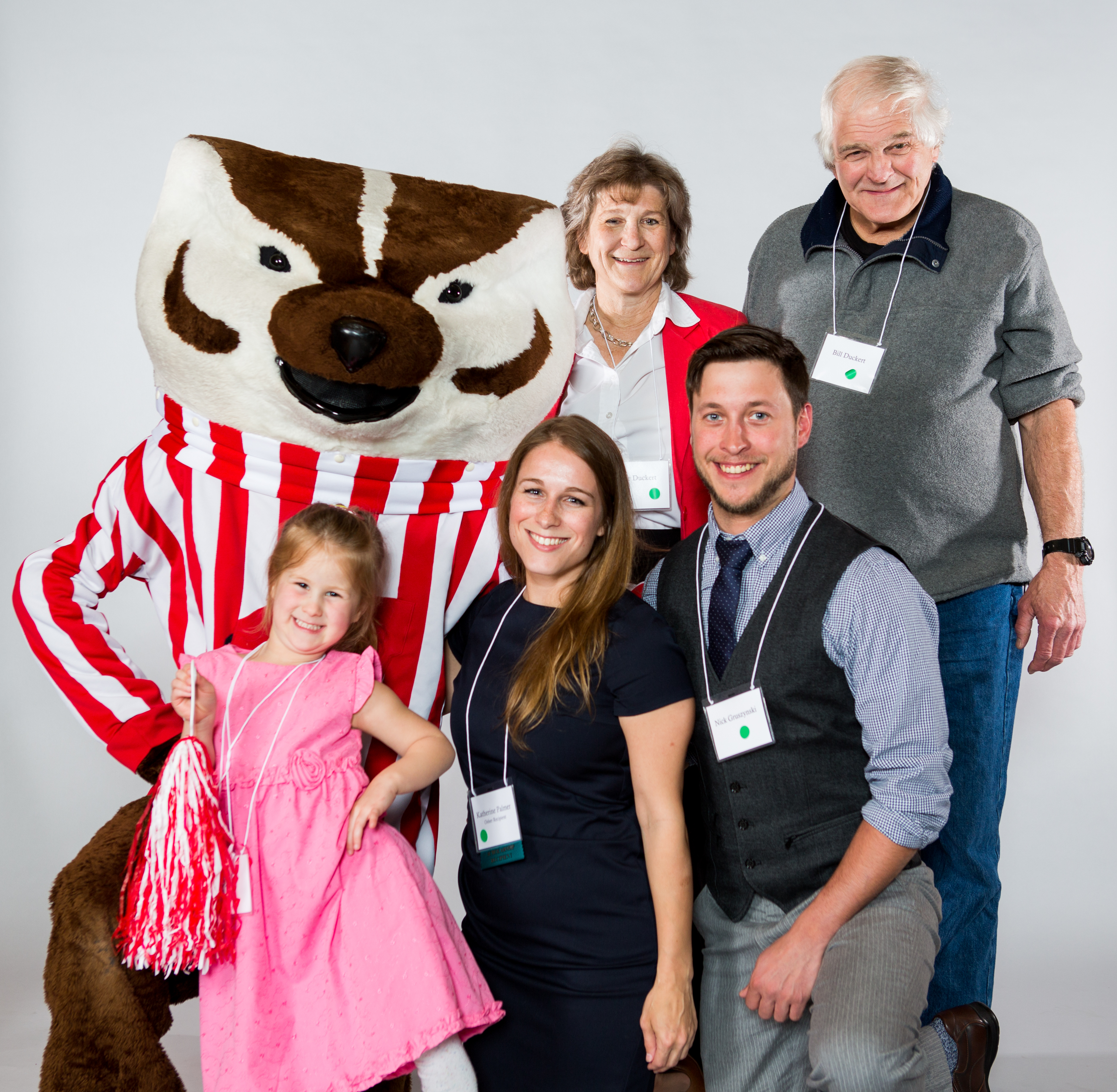 Katherine Palmer's family with Bucky Badger