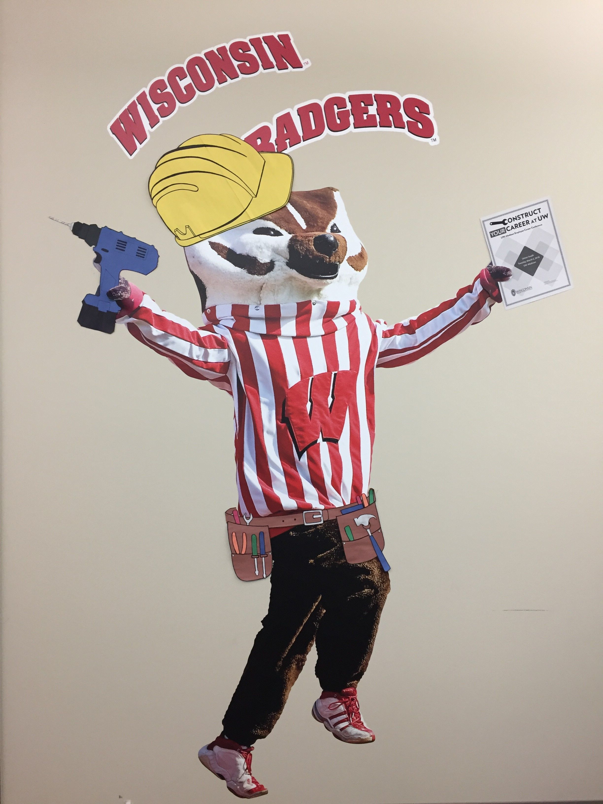 Bucky with hard hat and tools