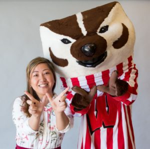returning adult student with Bucky