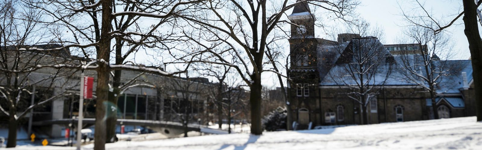 bascom and music hall in the snow