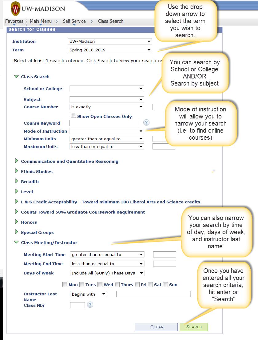 class search screen shot
