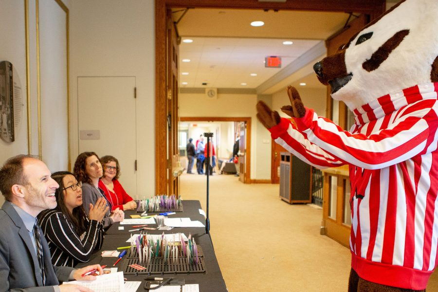 reception check-in table with bucky
